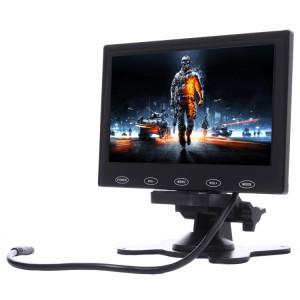 7,0 pouces 800 * 480 caméras de surveillance de voiture moniteur avec support d'angle réglable et télécommande, soutien VGA / HDMI / AV (noir) SH314B1765-20