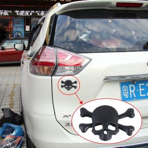 Autocollant universel de voiture en métal brillant en forme de crâne et d'os en croix (noir) SH362B1751-20