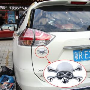 Autocollant universel de voiture en métal brillant en forme de tête de mort et d'os en croix SH362S1144-20