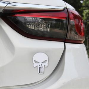Autocollant de voiture en métal de crâne blanc pur SH08131248-20