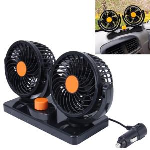 Huxin HX-T303 6.5W 360 Degrés Rotation Réglable Deux Têtes À Faible Bruit Mini Ventilateur De Voiture Électrique, DC12V SH2015214-20
