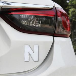 Décalque d'autocollant autocollant, emblème 3D de la lettre N anglaise, emblème de véhicule automobile, taille: 4.5 * 4.5 * 0.5cm SH271P17-20