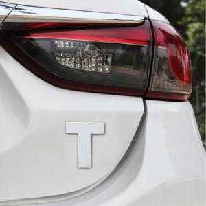Autocollant autocollant autocollant 3D anglais de lettre T d'emblème d'insigne de véhicule de voiture, taille: 4.5 * 4.5 * 0.5cm SH271V1383-20
