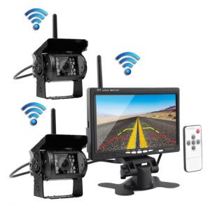 PZ-607-W-2 2 caméras de sécurité de moniteur 2.4GHz véhicule sans fil, caméra de vision arrière infrarouge de vision nocturne + moniteur de 7 pouces pour campeurs RV camion remorque SH3475119-20