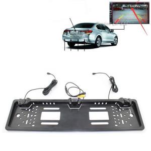 PZ600-L Europe Cadre de plaque d'immatriculation de voiture Vue arrière Caméra Système de stationnement de vue arrière avec 2 détecteurs de radar inverseurs SH4201584-20