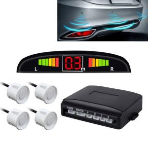Système de radar de secours inversé de sonnerie de voiture Qualité supérieure 4 Capteurs de stationnement Système de radar de secours inversé de voiture avec écran LCD (blanc pur) SH560D1933-20