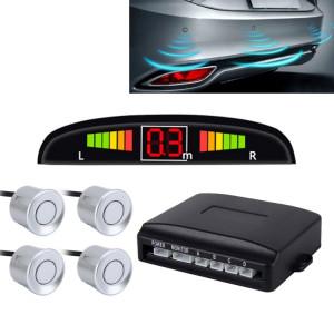 Système de radar de secours inversé de sonnerie de voiture qualité supérieure 4 capteurs de stationnement Système de radar de secours inversé de voiture avec écran LCD (argent) SH560H973-20