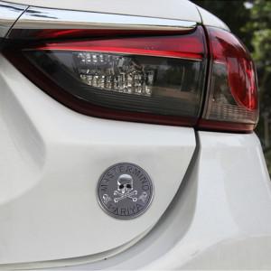 Forme de crâne forme circulaire brillant métal autocollant sans voiture (argent) SH722S633-20