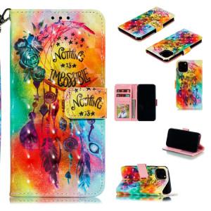 Etui à rabat horizontal en cuir avec motif peint, 3D, fente pour carte et portefeuille, cadre photo et lanière pour iPhone 11 Pro (carillons éoliens fleuris) SH401B1967-20