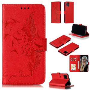Étui en cuir à rabat horizontal avec motif de plume et texture litchi avec emplacements pour portefeuille et porte-cartes pour iPhone 11 Pro (rouge) SH803A1237-20