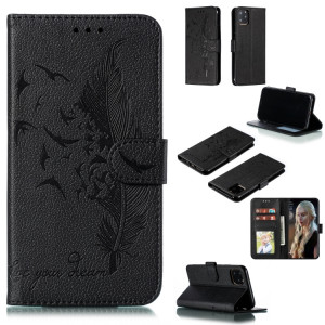 Etui en cuir à rabat horizontal avec motif de plume et texture litchi avec emplacements pour portefeuille et porte-cartes pour iPhone 11 Pro (noir) SH803C185-20