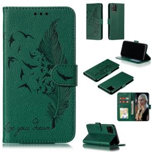 Étui en cuir à rabat horizontal avec motif de plume et texture litchi avec emplacements pour portefeuille et porte-cartes pour iPhone 11 Pro Max (Vert) SH805B1565-20
