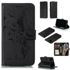 Étui en cuir à rabat horizontal avec motif de plume et texture litchi avec fentes pour portefeuille et porte-cartes pour iPhone 11 Pro Max (noir) SH805C228-20