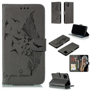 Etui en cuir à rabat horizontal avec motif de plume et texture litchi avec emplacements pour portefeuille et porte-cartes pour iPhone 11 Pro Max (Gris) SH805D1780-20