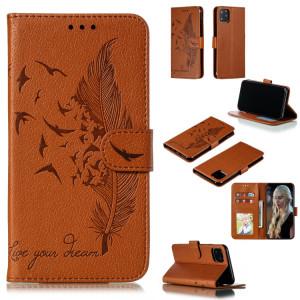 Etui en cuir à rabat horizontal avec motif de plume et texture litchi avec emplacements pour portefeuille et porte-cartes pour iPhone 11 Pro Max (Marron) SH805E201-20