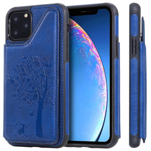 Étui de protection antichoc avec fentes pour cartes et cadre photo (bleu) pour iPhone 11 Pro Cat Tree à motif de gaufrage SH009C733-20
