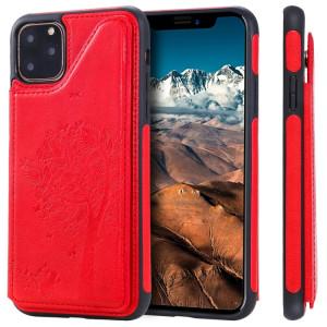 Pour iPhone 11 Pro Max Arbre à chat gaufrage, étui de protection antichoc avec fentes pour cartes et cadre photo (rouge) SH011E424-20