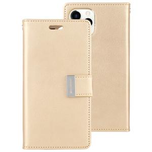 Etui pour iPhone 11 Pro Max MERCURY GOOSPERY RICH Diary Etui en cuir à rabat horizontal avec support et fentes pour cartes et porte-monnaie (Or) SG001D975-20