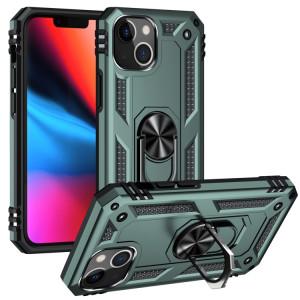 Étui de protection TPU + PC antichoc avec support rotatif à 360 degrés pour iPhone 13 (vert foncé) SH802F1667-20