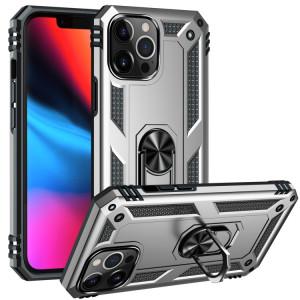 Étui de protection TPU + PC antichoc avec support rotatif à 360 degrés pour iPhone 13 Pro (argent) SH803G1584-20