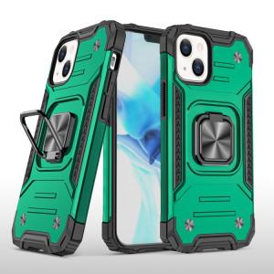 Armure magnétique TPU + PC TPU + PC avec porte-bague en métal pour iPhone 13 (vert foncé) SH402F1471-20