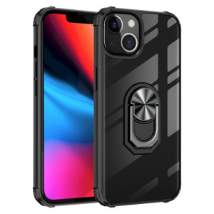 TPU transparent ultra-antichoc TPU + boîtier de protection acrylique avec porte-bague pour iPhone 13 (argent noir) SH702B1746-20