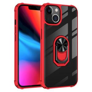 Boîtier de protection en acrylique transparent ultra-antichoc transparent avec porte-bague pour iPhone 13 Pro Max (rouge) SH704D543-20
