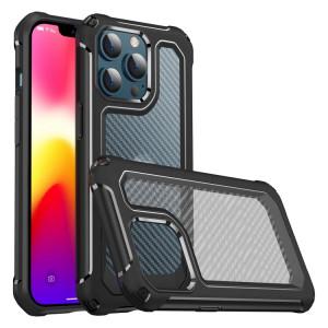PC PC + Texture de la texture de la fibre de carbone TPU TPU Cas de protection pour iPhone 13 Pro Max (Noir) SH704A1598-20