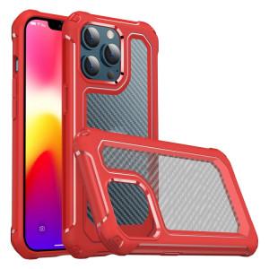 PC PC + Texture de la texture de la fibre de carbone TPU d'armure de protection pour iPhone 13 Pro Max (rouge) SH704B1310-20