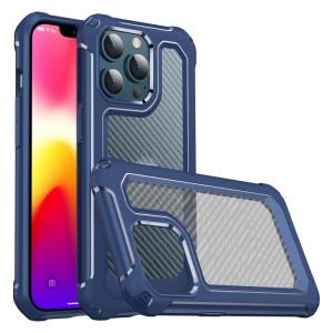 PC PC + Texture de la texture de la fibre de carbone TPU d'armure de protection pour iPhone 13 Pro Max (Bleu) SH704C5-20