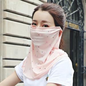 Été Outdoor Floral Ice Silk Sunshade Face Mask Châle résistant au soleil (couleur chair) SH601F724-20