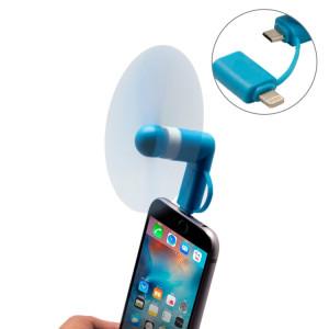 Mode 8pin et micro ports USB Mini ventilateur avec deux feuilles, pour téléphone portable avec fonction OTG et 8 broches et ports USB Micro (bleu) SH000L1089-20