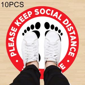 10 pièces autocollants de sol à distance sociale de prévention des épidémies en PVC imperméable auto-adhésif, longueur: 24 cm SH15261914-20
