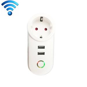 C178C 2 ports USB + 1 prise de courant intelligente Smart prise de l'UE, compatible avec Alexa et Google Home, AC 110V-230V, prise de l'UE SC001A741-20