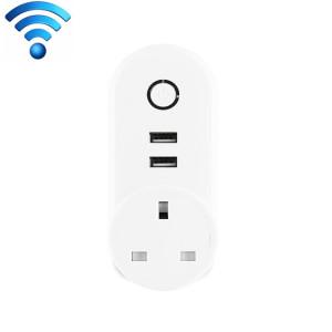 C178B 2 ports USB + 1 prise de courant à puce prise intelligente du Royaume-Uni, compatible avec Alexa et Google Home, AC 110V-230V, prise UK SC001C202-20