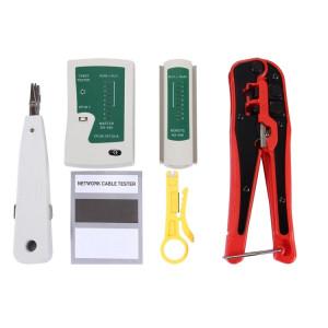 WLXY 4 en 1 Portable Pince à Sertir Punch Down Fil Détecteur de Ligne Ethernet Réseau Testeur de Câble Outils Kits SW0364673-20