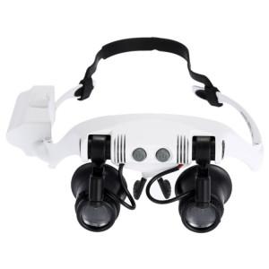 10X 15X 20X 25X porter des lunettes yeux éclairés loupe loupe regarder réparation loupe avec lumière led (blanc) SH50511303-20