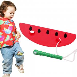 Les jouets en bois enfiler des chenilles pour manger des jouets en bois éducatifs drôles de pastèque SH582C402-20