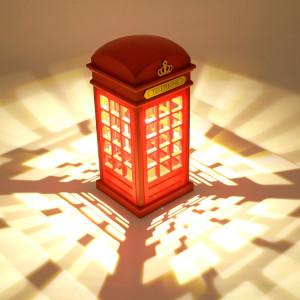 Lampe chaude de la lumière LED de forme de cabine téléphonique rétro, lampe rechargeable de Tableau de chevet de contrôle de contact de contact SH039752-20