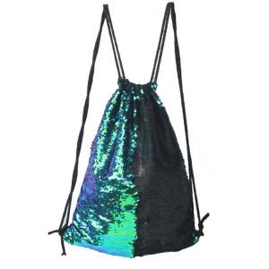 Mermaid Glittering Sequin Drawstring Sports Backpack Sac à bandoulière (Bright Black) SH988B1115-20