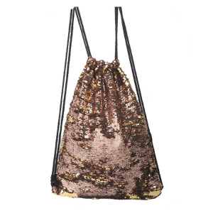 Mermaid Glittering Sequin Drawstring Sports Backpack Sac à bandoulière (Champagne Gold) SH988J832-20