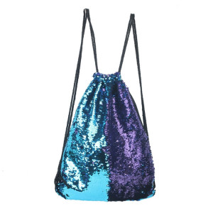 Mermaid Glittering Sequin Drawstring Sports Backpack Sac à bandoulière (bleu violet) SH88LP93-20