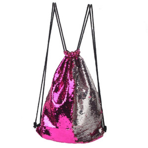 Mermaid Glittering Sequin Drawstring Sports Backpack Sac à bandoulière (Magenta Silver) SH88MS654-20