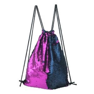 Mermaid Glittering Sequin Drawstring Sports Backpack Sac à bandoulière (Dark Purple Blue) SH88PL744-20