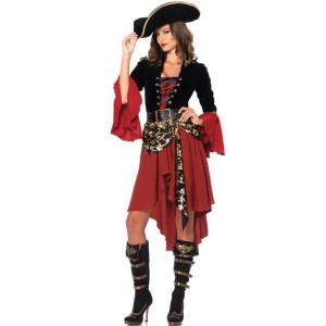 Cruel Seas Capitaine Buccaneer Pirate Cosplay Costume Femmes Sexy Halloween Déguisements Vêtements, Poitrine: environ 90cm, Tour de taille: environ 76cm SH35531962-20