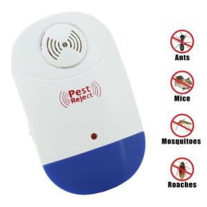 Répulsif ultrasonique électronique de contrôle de ravageur de rat de moustique avec la lumière de LED, prise EU AC90V-250V (blanc + bleu) SR4601297-20