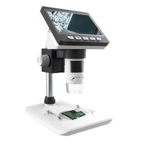 Microscope de bureau numérique électronique portable 50X-1000X 1080P avec lumière LED, Carte de support micro SD (32 Go max.) (Blanc) SH230W1508-20
