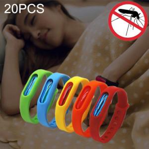 20 PCS anti-moustiques anti-moustiques répulsifs en silicone, boucle de poignet, convient aux enfants et aux adultes, longueur: 23 cm, livraison de couleurs aléatoires SH66641416-20