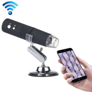 Capteur d'image HD de loupe 50X ~ 1000X 1920x1080P USB WiFi Microscope numérique avec 8 LED et support professionnel (Noir) SH008B711-20