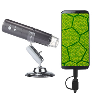 50X ~ 1000X Magnifier Capteur d'Image HD 1920x1080P USB WiFi Microscope Numérique avec 8 LED et Support Professionnel (Gris) SH008H1922-20